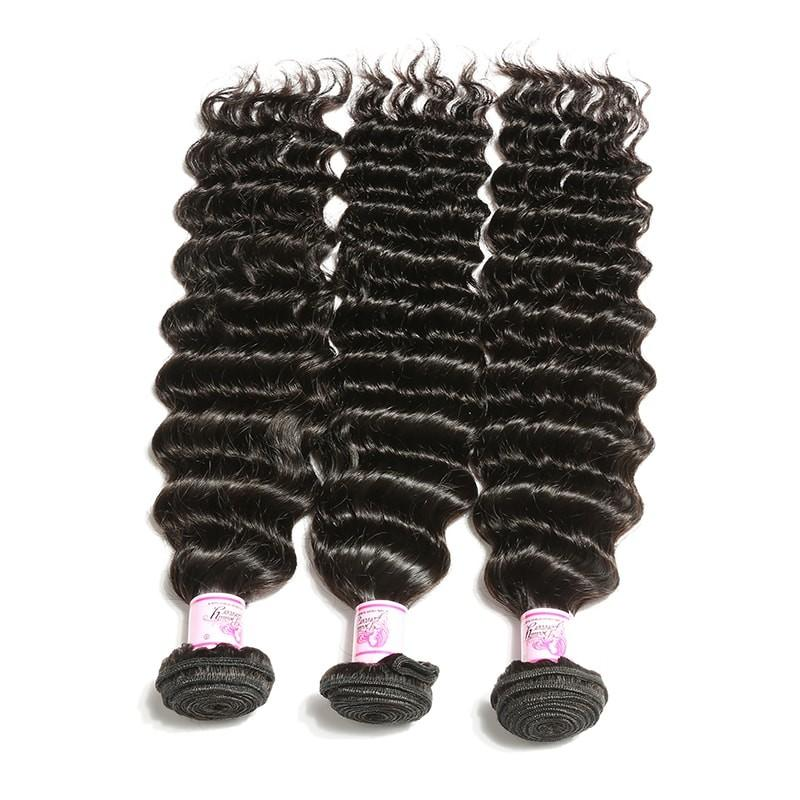 10 – 30 Inch Brazilian Virgin Hair 100% Human Hair Deep Wave (#1B Natural Black)