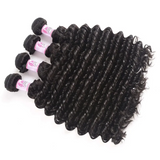 Virgin Hair 4 Bundles with Lace Closure Deep Wave Hair 100% Human Hair