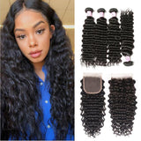 Virgin Hair 4 Bundles with Lace Closure Deep Wave Hair