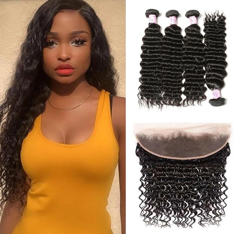 Virgin Hair 4 Bundles with Lace Frontal Deep Wave Hair