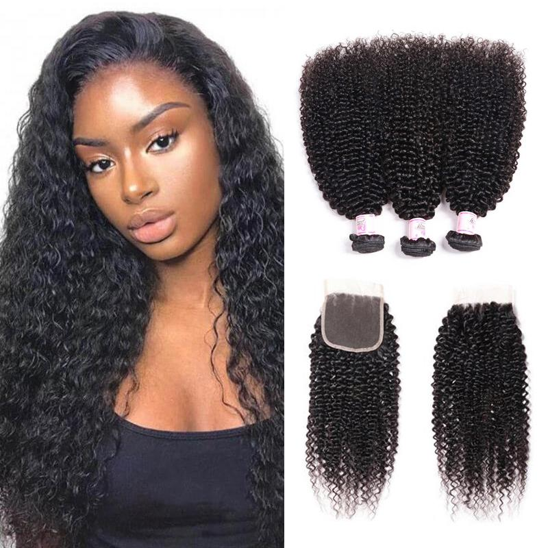 Virgin Hair 3 Bundles with Lace Closure Kinky Curly Hair
