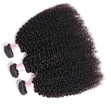 Virgin Hair 3 Bundles with Lace Closure Kinky Curly Hair 100% Human Hair