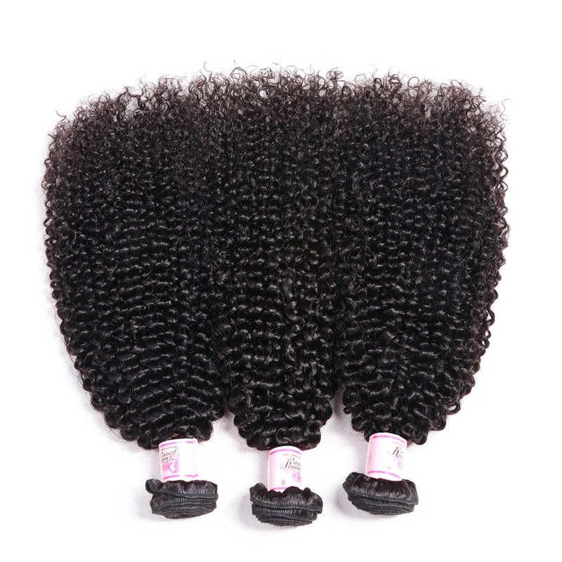 Virgin Hair 3 Bundles with Lace Frontal Kinky Curly Hair 100% Human Hair