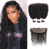 Virgin Hair 3 Bundles with Lace Frontal Kinky Curly Hair
