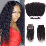 Virgin Hair 4 Bundles with Lace Closure Kinky Curly Hair 100% Human Hair