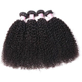 Virgin Hair 4 Bundles with Lace Frontal Kinky Curly Hair 100% Human Hair