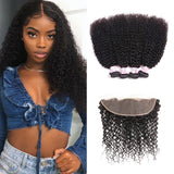 Virgin Hair 4 Bundles with Lace Frontal Kinky Curly Hair