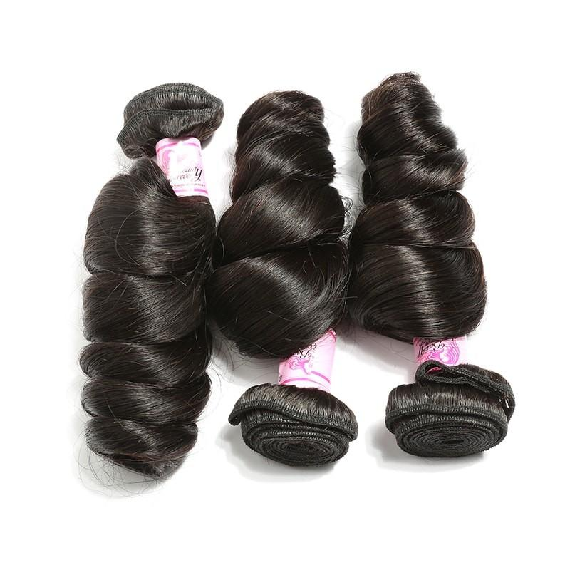 10 – 30 Inch Indian Virgin Hair 100% Human Hair Loose Wave (#1B Natural Black)