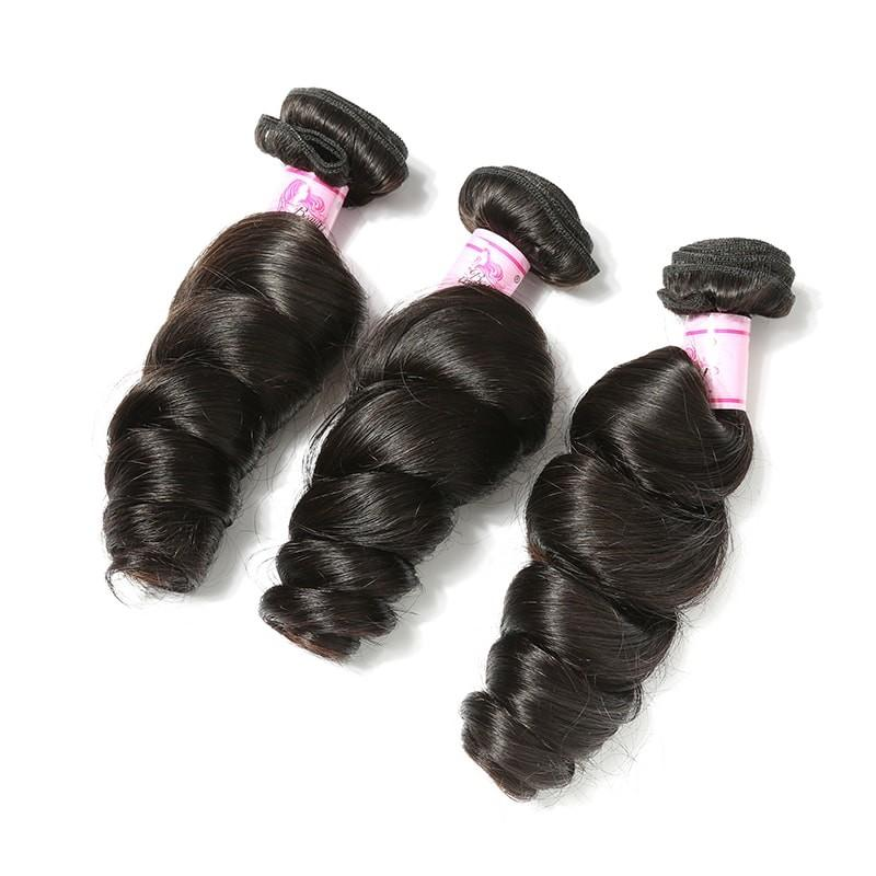 Virgin Hair 3 Bundles with Lace Closure Loose Wave Hair 100% Human Hair