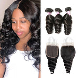 Virgin Hair 3 Bundles with Lace Closure Loose Wave Hair