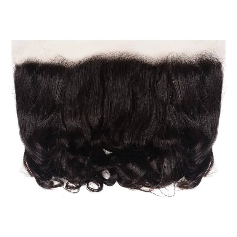 Virgin Hair 3 Bundles with Lace Frontal Loose Wave Hair 100% Human Hair