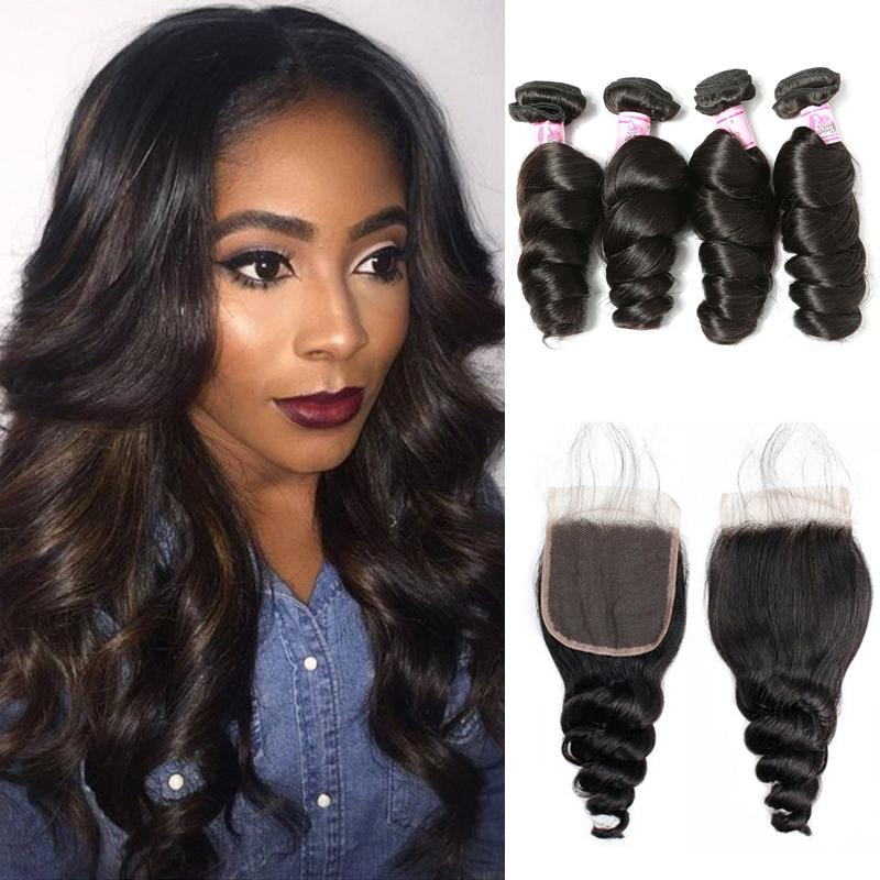 Virgin Hair 4 Bundles with Lace Closure Loose Wave Hair