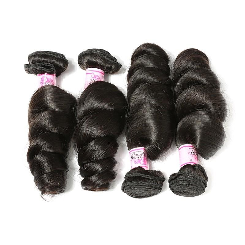 Virgin Hair 4 Bundles with Lace Closure Loose Wave Hair 100% Human Hair
