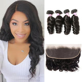 Virgin Hair 4 Bundles with Lace Frontal Loose Wave Hair