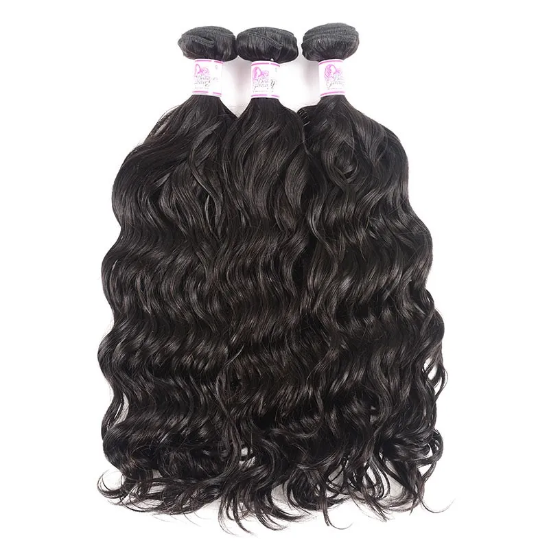 10 – 30 Inch Brazilian Virgin Hair 100% Human Hair Natural Wave (#1B Natural Black)