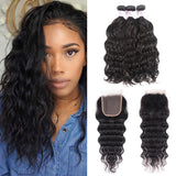 Virgin Hair 3 Bundles with Lace Closure Natural Wave Hair 100% Human Hair