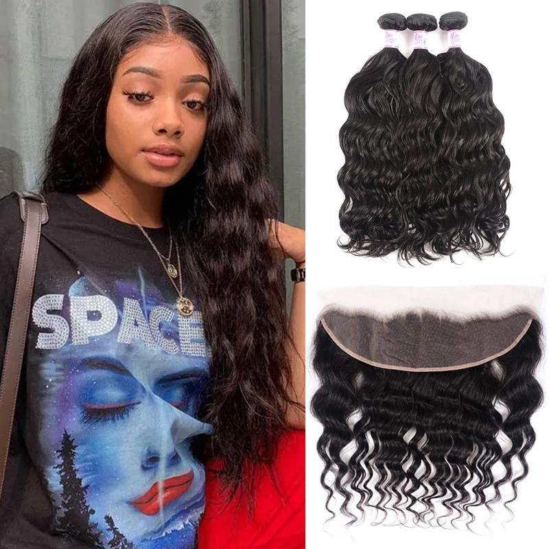 Virgin Hair 3 Bundles with Lace Frontal Natural Wave Hair