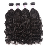 Virgin Hair 4 Bundles with Lace Closure Natural Wave Hair 100% Human Hair