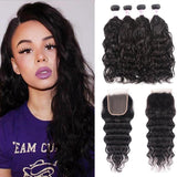 Virgin Hair 4 Bundles with Lace Closure Natural Wave Hair