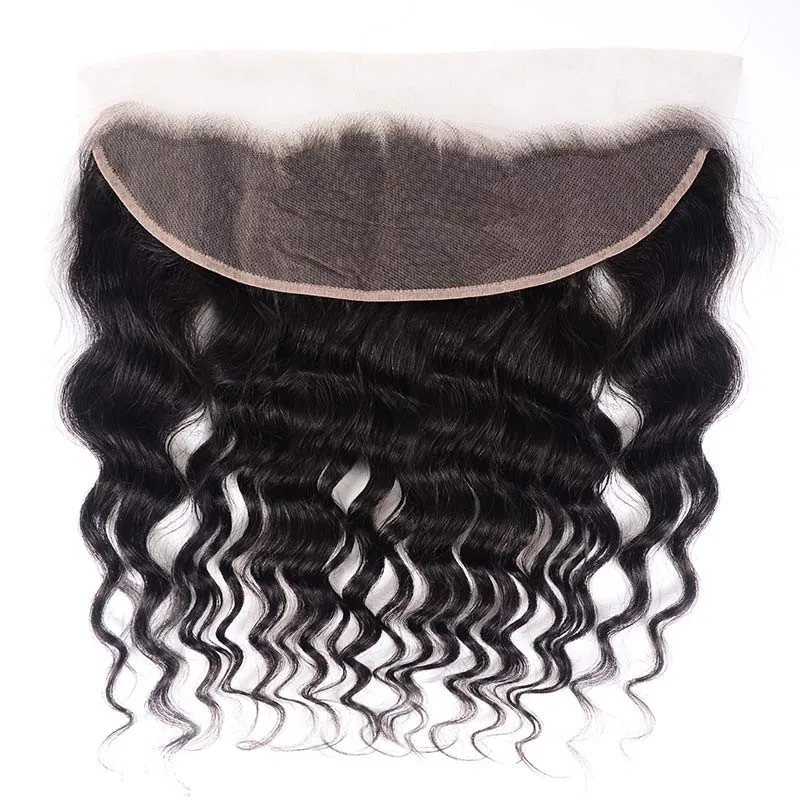 Virgin Hair 4 Bundles with Lace Frontal Natural Wave Hair 100% Human Hair