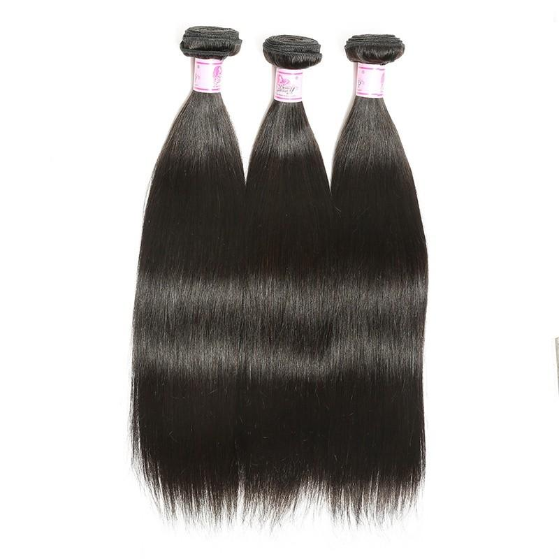 Virgin Hair 3 Bundles with Lace Closure Straight Hair 100% Human Hair