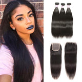 Virgin Hair 3 Bundles with Lace Closure Straight Hair