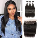 Virgin Hair 3 Bundles with Lace Frontal Straight Hair