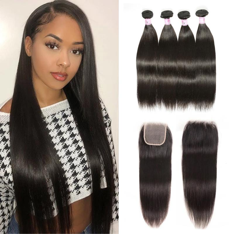 Virgin Hair 4 Bundles with Lace Closure Straight Hair