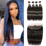 Virgin Hair 4 Bundles with Lace Frontal Straight Hair