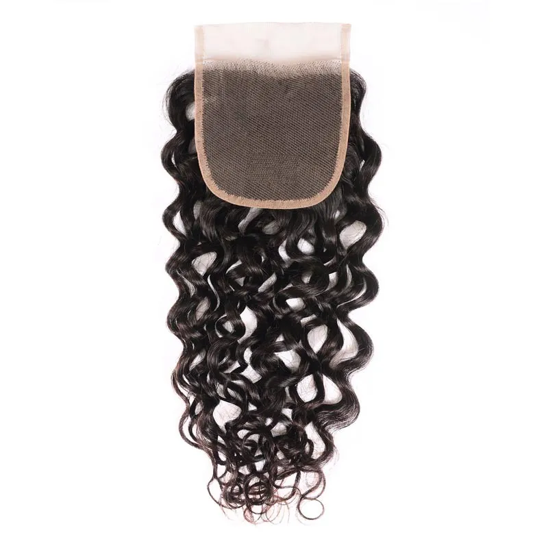Virgin Hair 3 Bundles with Lace Closure Water Wave Hair 100% Human Hair