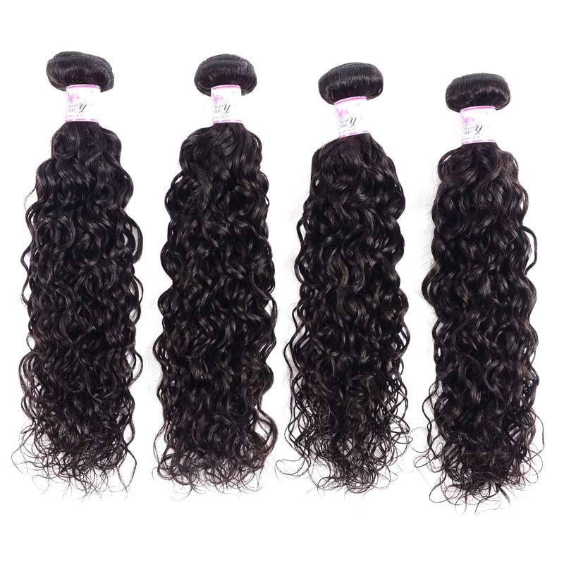 Virgin Hair 4 Bundles with Lace Closure Water Wave Hair 100% Human Hair