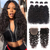 Virgin Hair 4 Bundles with Lace Closure Water Wave Hair