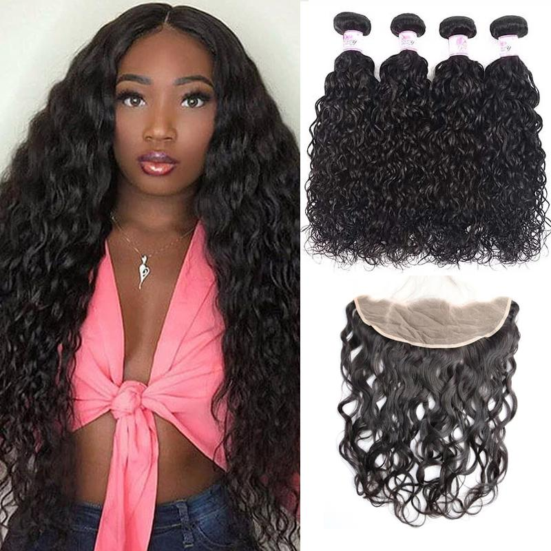 Virgin Hair 4 Bundles with Lace Frontal Water Wave Hair