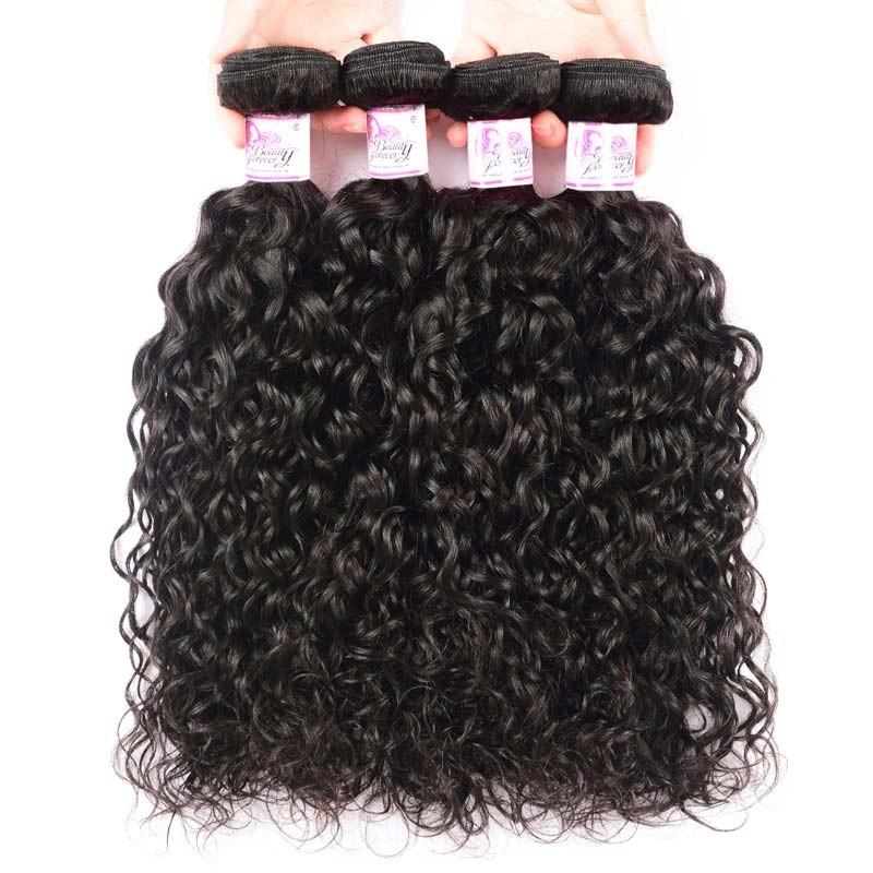 Virgin Hair 4 Bundles with Lace Frontal Water Wave Hair 100% Human Hair