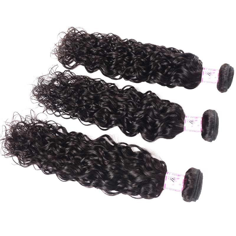 10 – 30 Inch Malaysian Virgin Hair 100% Human Hair Water Wave (#1B Natural Black)
