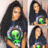 Pre-Plucked 360 Lace Frontal Wigs Virgin Hair Curly Wave Wig #1B