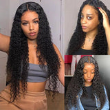 Pre-Plucked Lace Closure Wigs Virgin Hair Curly Wave Wig #1B