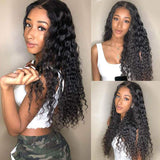 Pre-Plucked Lace Front Wigs Virgin Hair Deep Wave Wig #1B