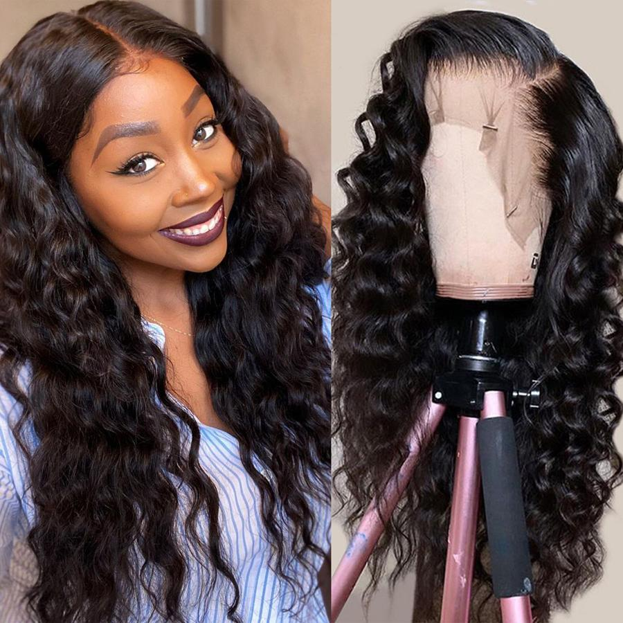 Pre-Plucked Lace Front Wigs Virgin Hair Loose Wave Wig #1B