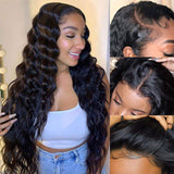 Pre-Plucked Lace Closure Wigs Virgin Hair Loose Wave Wig #1B