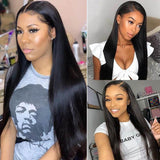 Pre-Plucked Lace Closure Wigs Virgin Hair Straight Wig #1B