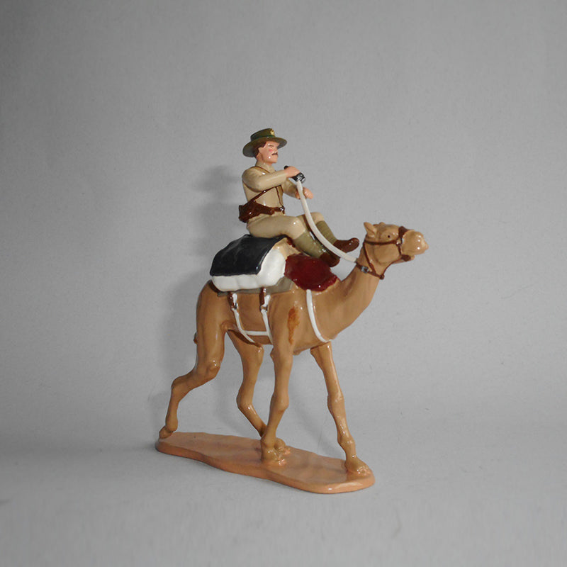 Figurine of a soldier riding a camel, exquisitely hand painted