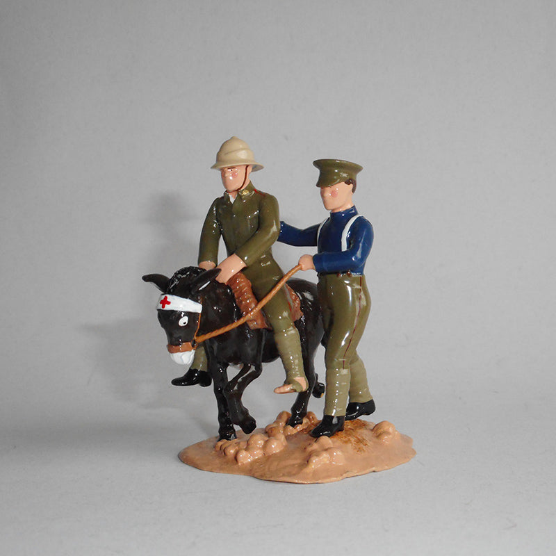 Figurine of Private Dick Henderson, riding an ambulance donkey, exquisitely hand painted