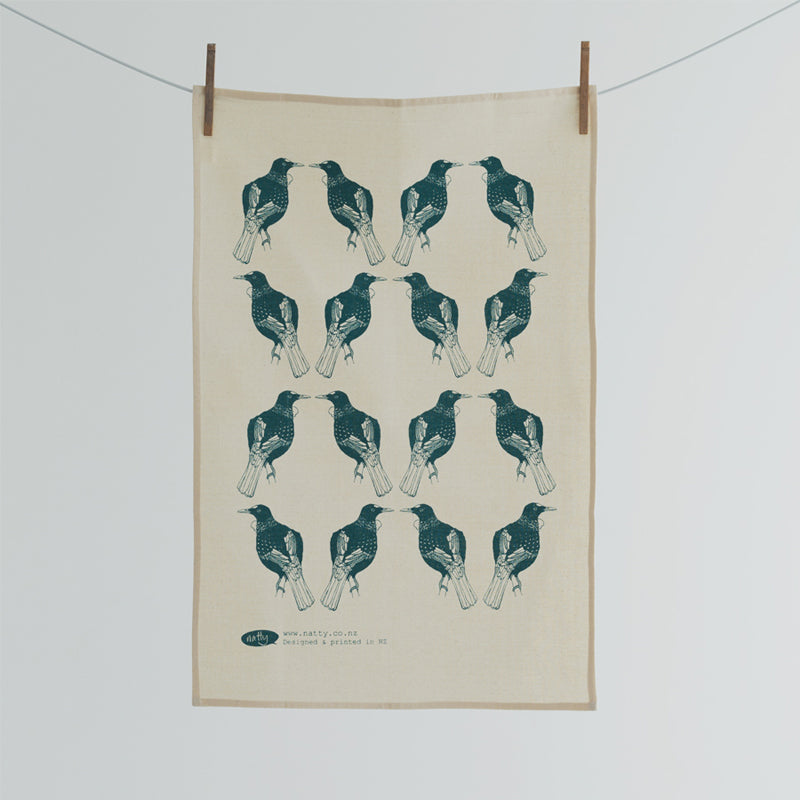 Tea towel featuring NZ native bird - the Tui