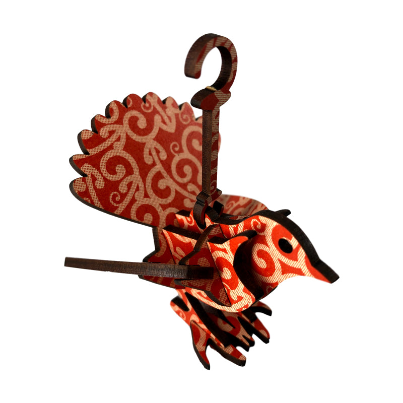 Wooden Christmas tree decoration in the form of a native NZ bird - a Fantail