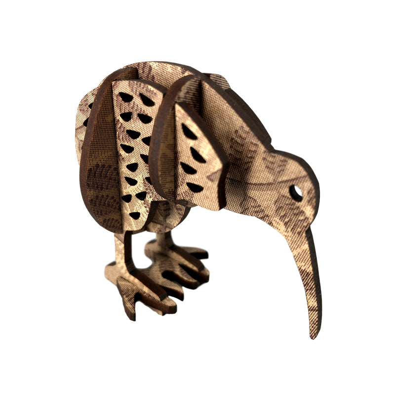 A wooden model of a native NZ brown kiwi