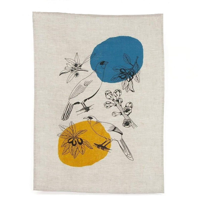 Linen tea towel featuring NZ native birds and plants