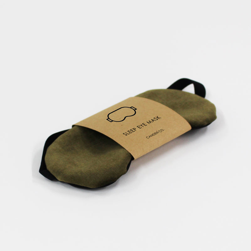 Olive green velvet eye pillow