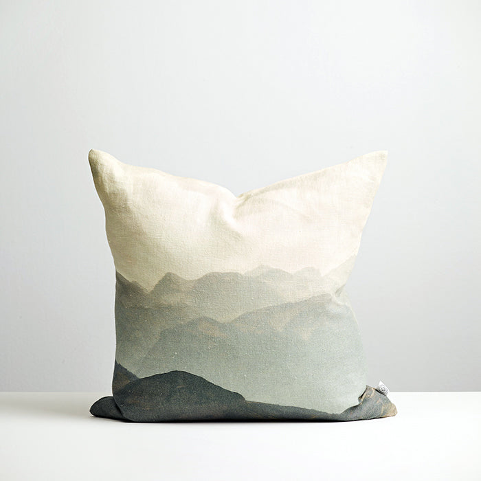 Linen cushion featuring a NZ landscape