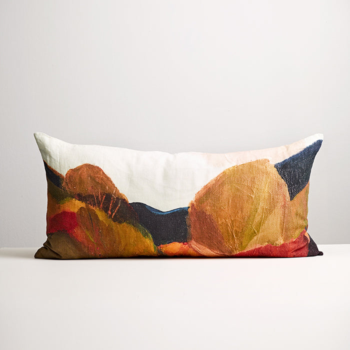 Linen cushion featuring painted trees